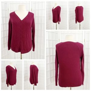 Sonoma Cable Knit V-Neck Red Sweater - Large